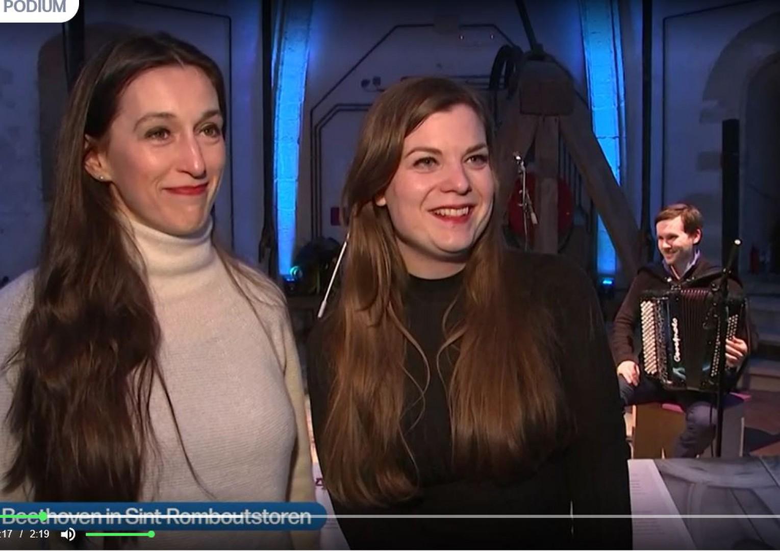 Reportage VRT NWS tijdens Hoogste Beethoven concert met Stokman & Vos